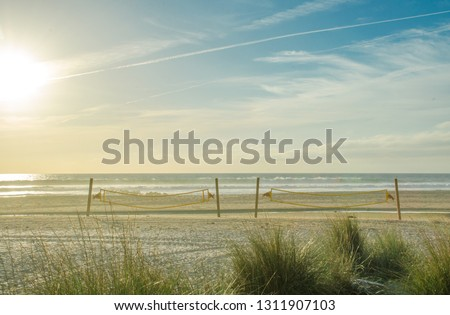 Valleyball court at the beach in Tarifa. Andalisia Spain