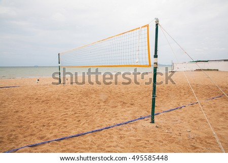 Valleyball net on the beach