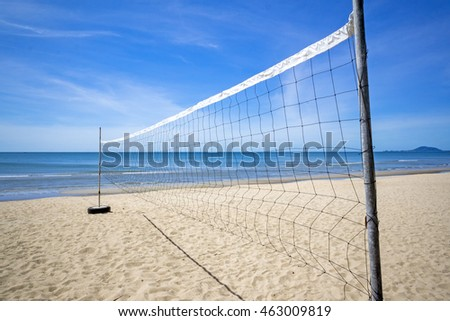 Valleyball net on the beach with sunny day