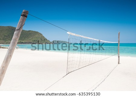 Valleyball net on the beach with sunny day,thailand