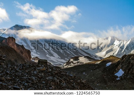 Valleys of Ladakh [Snow capped mountains adorn the route from Manali to Leh, in Ladakh]