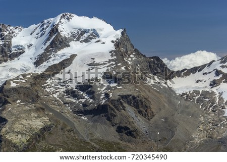 Valsavaranche, Aosta Valley, Italy - August 2014: Mount Gran Paradiso (4061 m); west face. #720345490