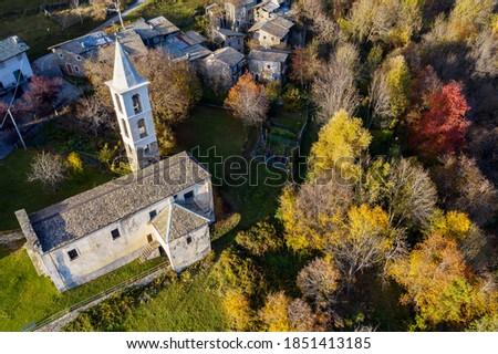 Valtellina, Italy, aerial view of the Church of San Giovanni Battista near Carnale Сток-фото ©