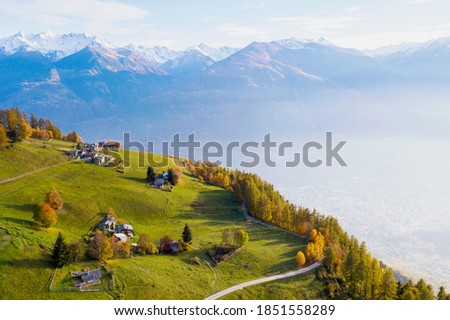 Valtellina, Italy, aerial view of the city of Sondrio from the Carnale area Сток-фото ©