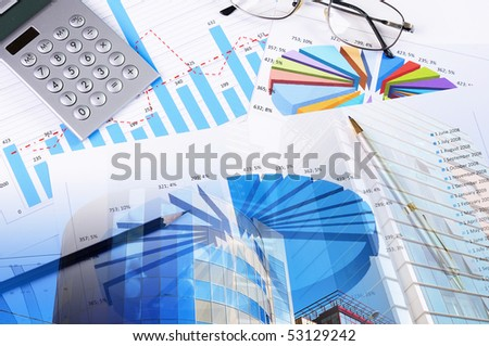 valuable papers, charts and diagrams - a collage