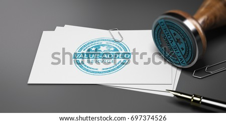Value added stamp printed on a card with office supplies. 3D illustration.