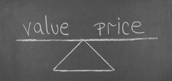Value and price. Shown on the chart isolated on blackbackground.