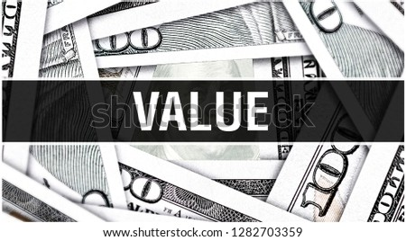 Value Closeup Concept. American Dollars Cash Money,3D rendering. Value at Dollar Banknote. Financial USA money banknote Commercial money investment profit concept