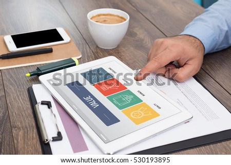 VALUE CONCEPT ON TABLET SCREEN - Shutterstock ID 530193895