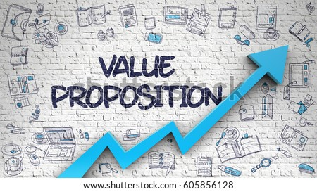 Value Proposition Drawn on White Brick Wall. 3d.