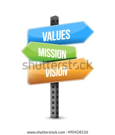 values, mission, vision which way to go road sign illustration design graphic