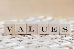 values word background on wood blocks