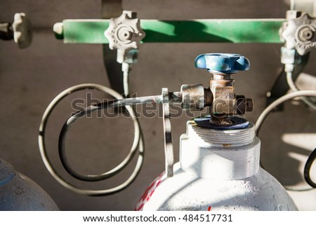 valve on old nitrogen gas cylinder #484517731