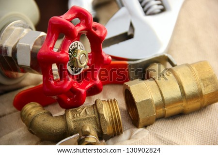 Valves and wrench.