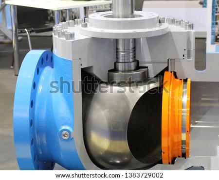 Valves regulating and locking regulating. Gate valves. Ball valves. Ball valves in the cut. Oil and gas industry. Stock photo ©