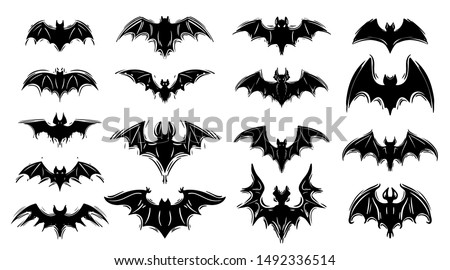 Vampire bats hand drawn silhouette illustrations set. Halloween holiday, horror monochrome symbols pack. Scary night creatures, creepy flying mammals. Spooky animals, flittermouse collection