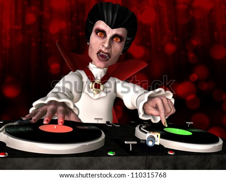 Vampire DJ: Count Dracula is in the House and mixing up some Halloween horror.  Turntables with vinyl albums.