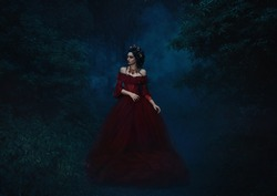 Vampire Queen walking in the fog. Beautiful girl in a luxurious red dress. Background mystical forest at night. Gothic painting, dark Boho. Fashionable toning