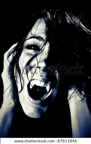 Vampire Screaming in High Contrast