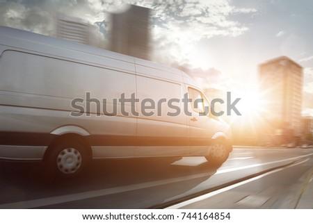 Van in a city #744164854