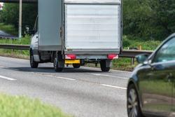 van on uk motorway in fast motion