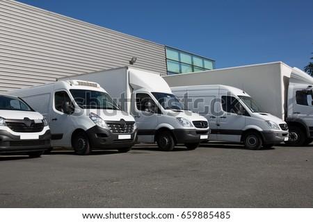 van transportation truck park Foto d'archivio ©