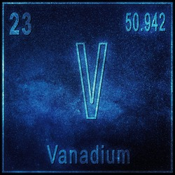 Vanadium chemical element, Sign with atomic number and atomic weight, Periodic Table Element