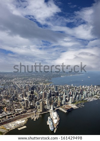 Vancouver - aerial view of downtown, English Bay and Kitsilano