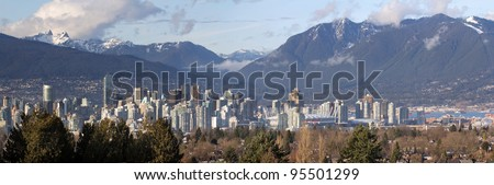 Vancouver BC Canada City Skyline and Snow Capped Mountains Panorama