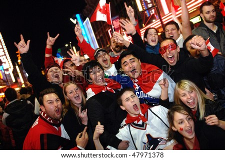 VANCOUVER, BC, CANADA - FEBRUARY 28: Canadians celebrate Canada Hockey Team Gold Medal win at 2010 Winter Games, February 28, 2010 in Vancouver, BC, Canada
