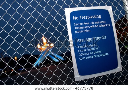 VANCOUVER, BC, CANADA - FEBRUARY 13: Security fence with warning signs surrounds Vancouver 2010 Winter Olympic Games cauldron and keeps public at distance, February 13, 2010, Vancouver, BC, Canada.