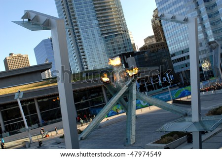 VANCOUVER, BC, CANADA - FEBRUARY 17: Vancouver 2010 Winter Olympic Games cauldron was lit by hockey great Wayne Gretzky at Jack Poole Plaza, February 17, 2010  Vancouver, BC, Canada - stock photo
