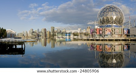 VANCOUVER, BRITISH COLUMBIA - FEBRUARY 12, 2009: February 12 marks the one year countdown to the 2010 Winter Olympics in Vancouver. The athletes' village is on False Creek near the dome of Science World, built for Expo '86.