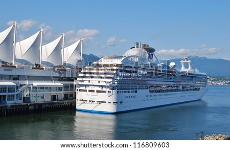 VANCOUVER, CA - JULY 5: Cruise Ship at Canada Place Harbor on July 05, 2008 in Vancouver, Canada. Famous Vancouver main cruise ship terminal, it was built in 1927.