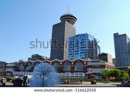 VANCOUVER, CA - JULY 09 :Downtown Vancouver Lookout Tower on July 09, 2008 in Vancouver, Canada. The famous Observation Deck is situated in the heart of Vancouver, and it has a revolving restaurant.