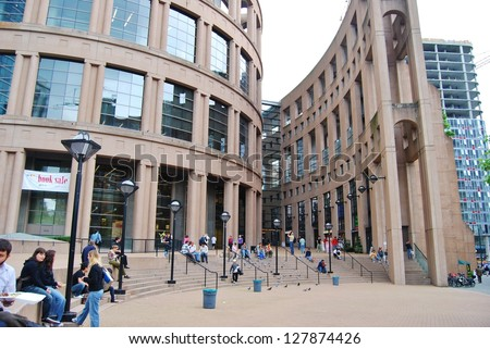 VANCOUVER, CA - JULY 05: Vancouver Public Library on July 05, 2008 in Vancouver, Canada. It is the second largest public library system in Canada, with more than 2.8 million items in its collections. - stock photo