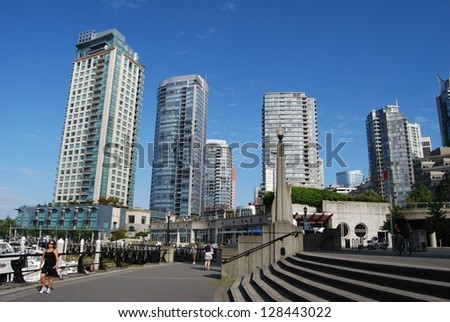 VANCOUVER, CA - JUNE 25: Downtown Vancouver Modern Architecture, and Lifestyle on June 25 , 2011 in Vancouver, CA. Vancouver has prominent buildings in a variety of styles by many famous architects