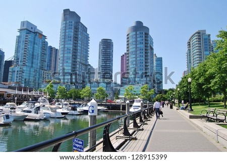 VANCOUVER, CA- JUNE 25: Downtown Vancouver Modern Architecture, and Lifestyle on June 25 , 2011 in Vancouver, CA Vancouver has prominent buildings in a variety of styles by many famous architects.