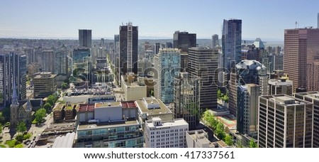 VANCOUVER, CA -7 MAY 2016-  Scenic view of the modern skyline of Vancouver, the largest city in the province of British Columbia on the West coast of Canada.