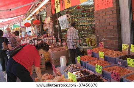 VANCOUVER, CANADA - AUGUST 06: Traditional Chinese Medicine Store opened in Chinatown of Vancouver, Canada on August 06, 2005. Ingredients include dried fish, shrimps, shellfish and cuttlefish.
