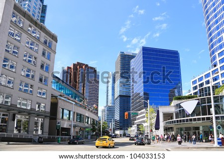VANCOUVER, CANADA - AUGUST 15: View on Downtown of Vancouver - Capital for the 2010 Winter Olympic Games, August 15, 2011