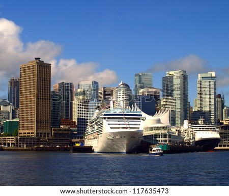 Vancouver Canada cityscape with cruise ships. - stock photo