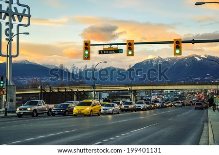VANCOUVER, CANADA - FEB 22: Streets in Vancouver city on February 22, 2010. Vancouver is a coastal seaport city on the mainland of British Columbia and the eighth largest Canadian municipality.