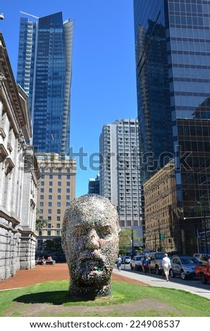 VANCOUVER, CANADA - JULY 27: Douglas Coupland\'s Head  at Vancouver Art Gallery on July 27 , 2014 in Vancouver, Canada. Gallery is 5th largest art gallery in Canada and largest in Western Canada.