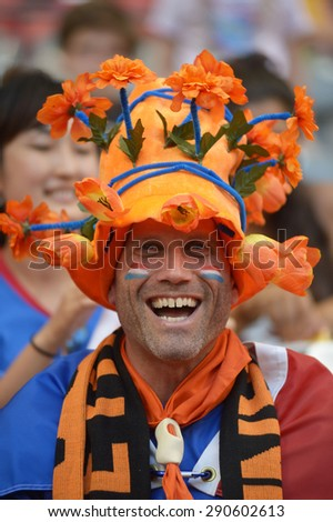 VANCOUVER, CANADA - JUNE 23, 2015: Fans of Netherlands attend a FIFA Women\'s World Cup Canada 2015 match in Vancouver, Canada, on June 23, 2015.