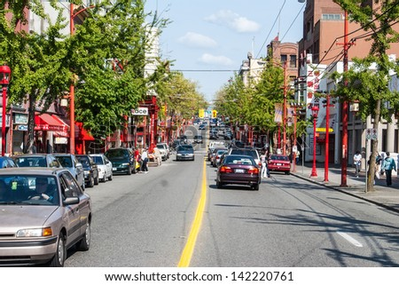 VANCOUVER, CANADA - MAY 16: Chinatown on May 17, 2007 in Vancouver, Canada. Chinatown in Vancouver, BC is Canada\'s largest Chinatown and is one of the largest historic Chinatowns in North America.