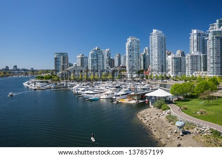 VANCOUVER, CANADA - MAY 06: People enjoy sunny day in Yaletown on May 06, 2013. Formerly a warehouse district, Yaletown is one of the most densely populated neighborhoods in the city.
