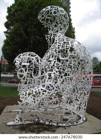 VANCOUVER, CANADA - MAY 23: Stainless steel art piece \