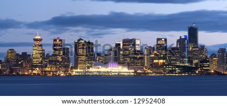 Vancouver, Canada. Nocturnal Skyline