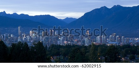 Vancouver Canada Skyline at Dusk